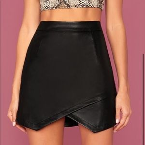 BRAND NEW SHEIN Faux Leather Asymmetrical Skirt
